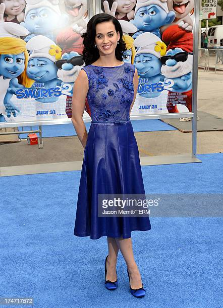 Actress/Singer Katy Perry attends the premiere of Columbia Pictures' Smurfs 2 at Regency Village Theatre on July 28 2013 in Westwood California