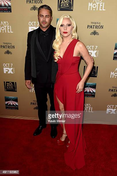 Actress/singer Lady Gaga and actor Taylor Kinney attend the premiere screening of FX's American Horror Story Hotel at Regal Cinemas LA Live on...