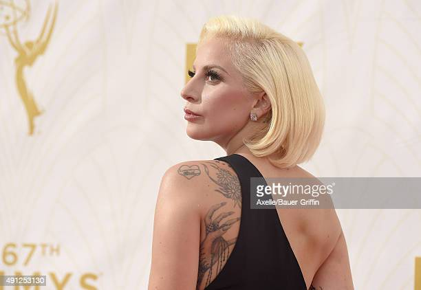 Actress/singer Lady Gaga arrives at the 67th Annual Primetime Emmy Awards at Microsoft Theater on September 20 2015 in Los Angeles California