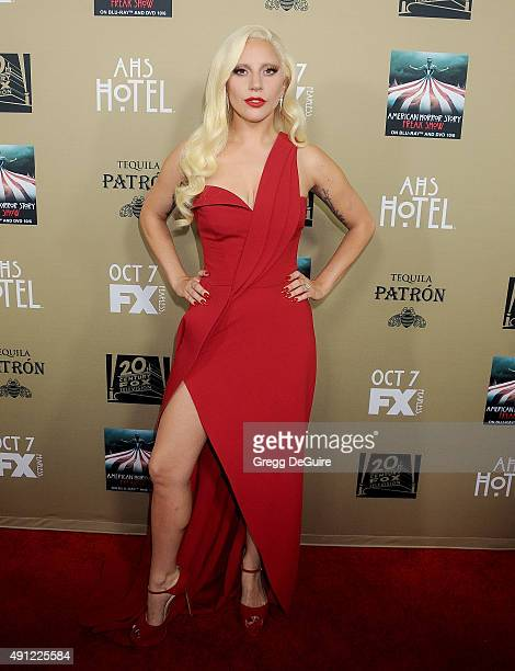 Actress/singer Lady Gaga arrives at the premiere screening of FX's American Horror Story Hotel at Regal Cinemas LA Live on October 3 2015 in Los...
