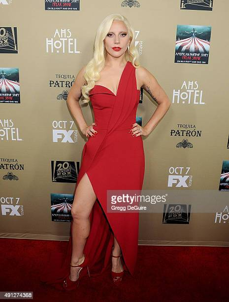 """Actress/singer Lady Gaga arrives at the premiere screening of FX's """"American Horror Story: Hotel"""" at Regal Cinemas L.A. Live on October 3, 2015 in..."""