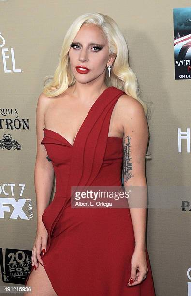 Actress/singer Lady Gaga arrives for the premiere screening Of FX's 'American Horror Story Hotel' held at Regal Cinemas LA Live on October 3 2015 in...
