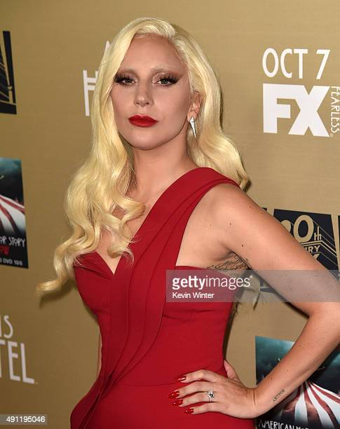 Actress/singer Lady Gaga attends the premiere screening of FX's 'American Horror Story Hotel' at Regal Cinemas LA Live on October 3 2015 in Los...