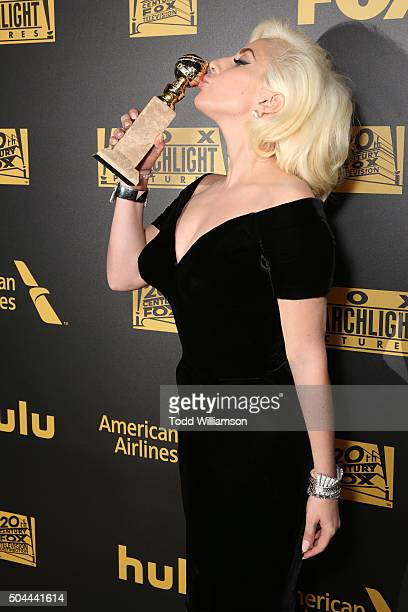 Actress/singer Lady Gaga winner of Best Performance in a Miniseries or Television Film for 'American Horror Story Hotel' attends FOX Golden Globe...