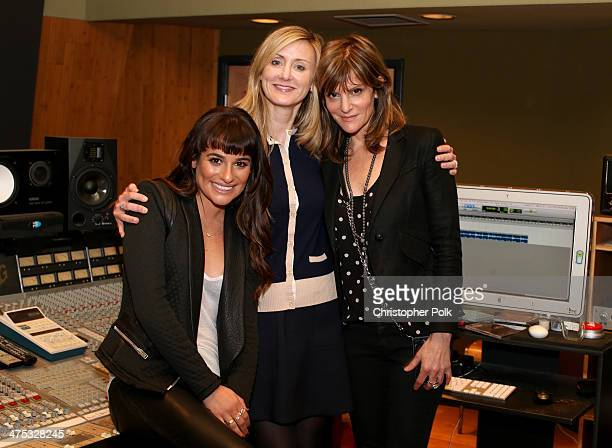 Actress/singer Lea Michele Untitled Entertainment's Alissa Vradenburg and Pulse Recordings' Anne Preven attend the 'Louder' album playback and Q A...