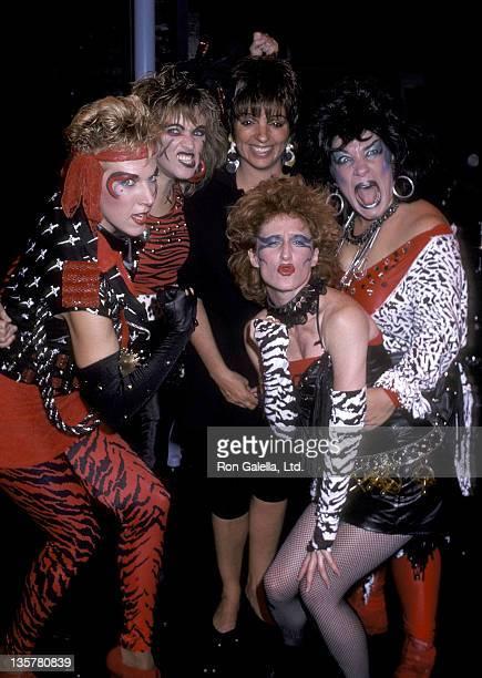 Actress/Singer Liza Minnelli actress Carolyn Casanave actress Lorna Patterson actress Vicki Lewis and actress Camille Saviola backstage at a...