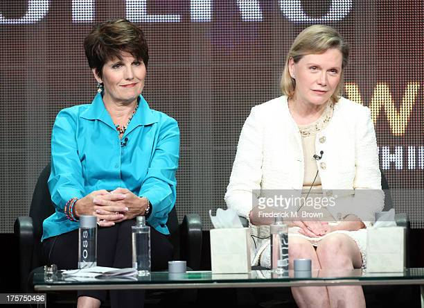 Actress/singer Lucie Arnaz and Terre Blair Hamlisch speak onstage during the 'Marvin Hamlisch The Way He Was' panel discussion at the PBS portion of...