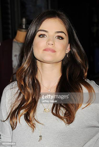 Actress/singer Lucy Hale appears at The Hollister store at the Westfield Century City mall to launch her first collection on August 9 2014 in Century...