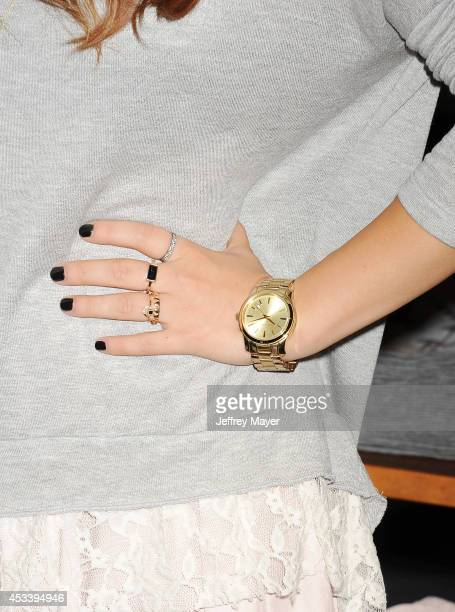 Actress/singer Lucy Hale at The Hollister store at the Westfield Century City mall to launch her first collection on August 9, 2014 in Century City,...