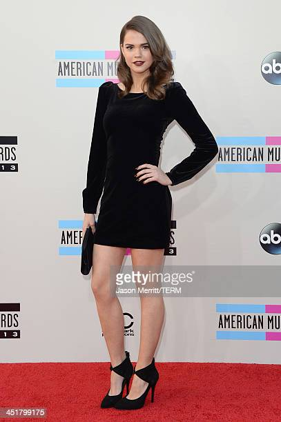 Actress/singer Maia Mitchell attends the 2013 American Music Awards at Nokia Theatre LA Live on November 24 2013 in Los Angeles California