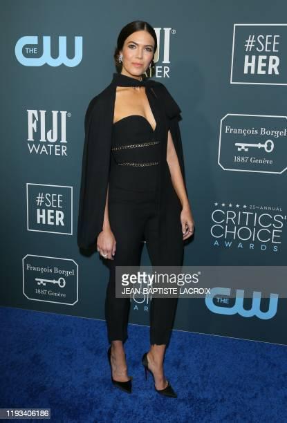 US actress/singer Mandy Moore arrives for the 25th Annual Critics' Choice Awards at Barker Hangar Santa Monica airport on January 12 2020 in Santa...