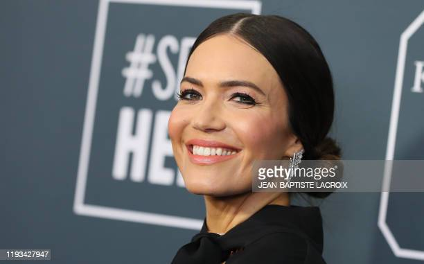 Actress/singer Mandy Moore arrives for the 25th Annual Critics' Choice Awards at Barker Hangar Santa Monica airport on January 12, 2020 in Santa...