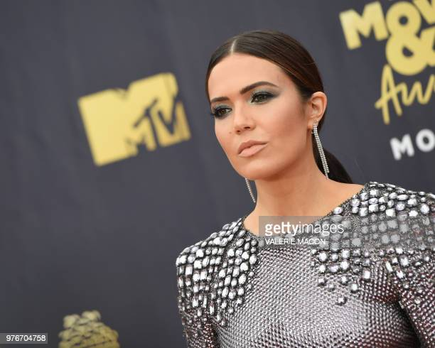 US actress/singer Mandy Moore attends the 2018 MTV Movie TV awards at the Barker Hangar in Santa Monica on June 16 2018 This year's show is not live...