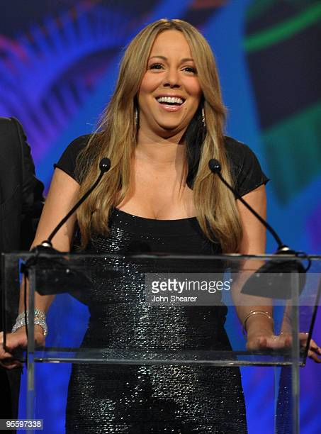 Actress/singer Mariah Carey accepts the Breakthrough Actress Perfromance award onstage at the 2010 Palm Springs International Film Festival gala held...