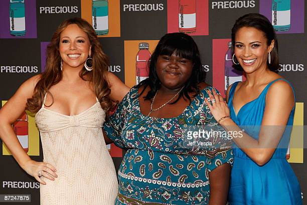 Actress/singer Mariah Carey and actors Gabourey Sidibe and Paula Patton attend the 'Precious' Luncheon at the vitaminwater Beach during the 62nd...