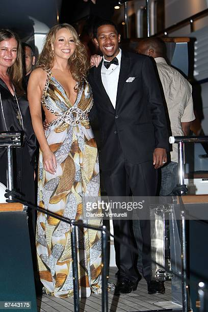 Actress/singer Mariah Carey and musician Nick Cannon attend Roberto Cavalli dinner held at the Roberto Cavalli's yacht RC during the 62nd...