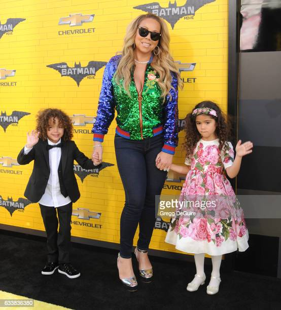 Actress/singer Mariah Carey son Moroccan Scott Cannon and daughter Monroe Cannon arrive at the premiere of Warner Bros Pictures' The LEGO Batman...