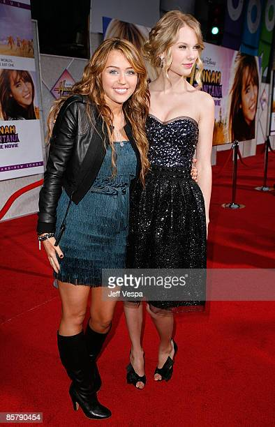Actress/singer Miley Cyrus and singer Taylor Swift arrive at the premiere of Walt Disney Picture's 'Hannah Montana The Movie' held at the El Captian...