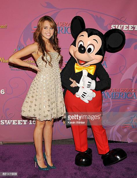 Actress/singer Miley Cyrus arrives at her 'Sweet 16' birthday celebration benefiting Youth Service America at Disneyland on October 5 2008 in Anaheim...