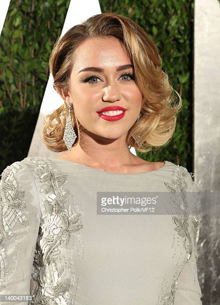 Actress/singer Miley Cyrus attends the 2012 Vanity Fair Oscar Party Hosted By Graydon Carter at Sunset Tower on February 26 2012 in West Hollywood...