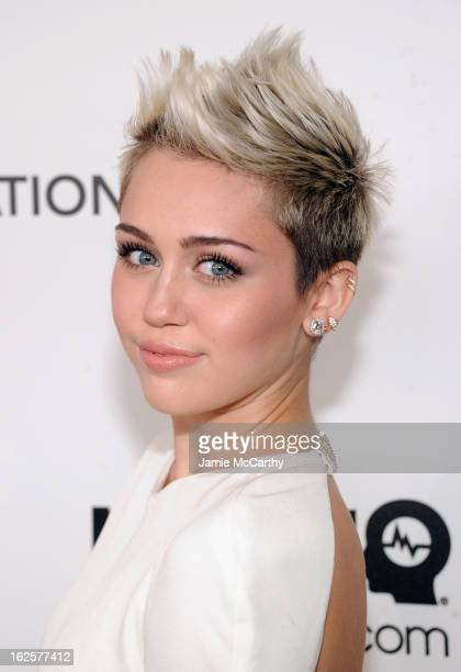 Actress/Singer Miley Cyrus attends the 21st Annual Elton John AIDS Foundation Academy Awards Viewing Party at West Hollywood Park on February 24 2013...