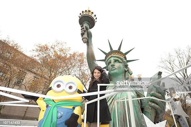 Actress/singer Miranda Cosgrove and the 'Despicable Me' Minions make their way through the streets on the Statue of Liberty float during the 84th...