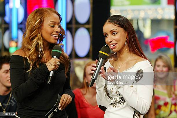 Actress/singer Mya appears on stage with VJ La La during MTV's Total Request Live at the MTV Times Square Studios March 18 2004 in New York City
