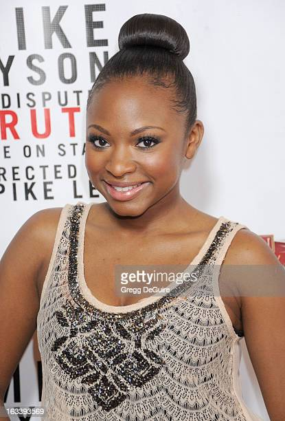 Actress/singer Naturi Naughton arrives at the Los Angeles opening night of Mike Tyson Undisputed Truth at the Pantages Theatre on March 8 2013 in...