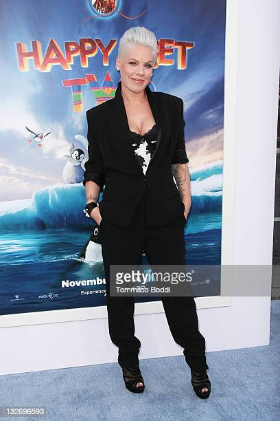 Actress/Singer Pink attends the 'Happy Feet Two' Los Angeles premiere held at the Grauman's Chinese Theatre on November 13 2011 in Hollywood...