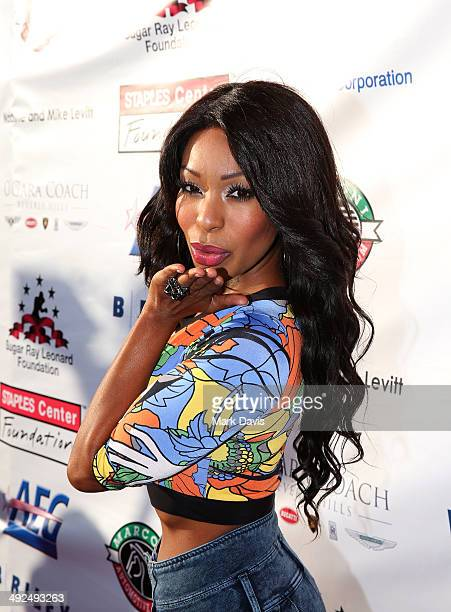 Actress/Singer Porscha Coleman attends the B Riley Co and Sugar Ray Leonard Foundation's 5th Annual Big Fighters Big Cause Charity Boxing Night at...