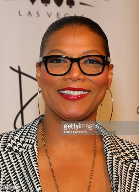 Actress/singer Queen Latifah arrives at the 'Jubilee' show's grand reopening at Bally's Las Vegas on March 29 2014 in Las Vegas Nevada