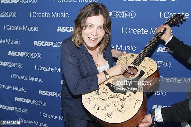 Actress/singer Rachel Bloom signs a #StandWithSongwriters guitar, which will be presented in May to members of Congress to urge them to support...