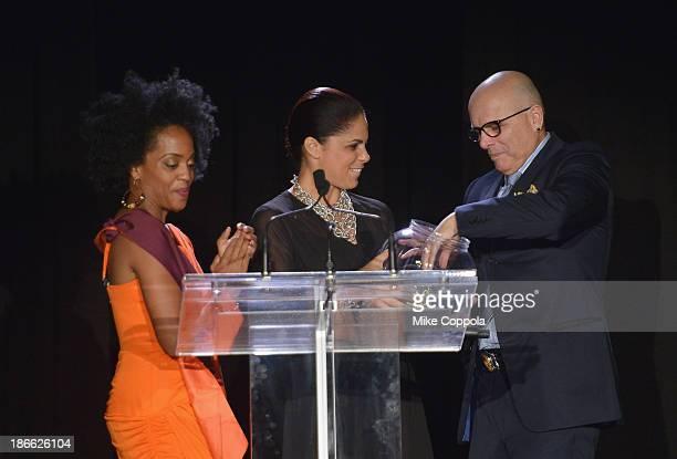 Actress/singer Rhonda Ross television journalist Soledad OBrien and Joe Pantoliano speak at the 17th annual Hearts of Gold gala at Metropolitan...