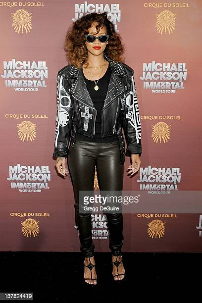 Actress/singer Rihanna arrives at Los Angeles Opening of Michael Jackson THE IMMORTAL World Tour at Staples Center on January 27 2012 in Los Angeles...