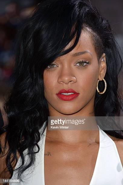 Actress/singer Rihanna arrives at the premiere of Universal Pictures' 'Battleship' at Nokia Theatre LA Live on May 10 2012 in Los Angeles California