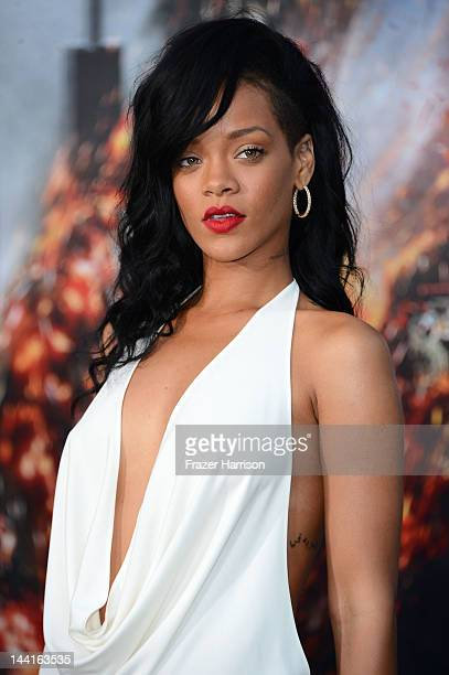 Actress/singer Rihanna arrives at the Premiere Of Universal Pictures' 'Battleship' at The Nokia Theatre LA Live on May 10 2012 in Los Angeles...