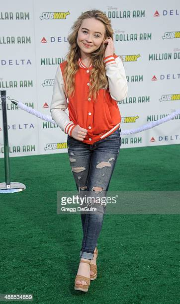 Actress/singer Sabrina Carpenter arrives at the Los Angeles premiere of 'Million Dollar Arm' at the El Capitan Theatre on May 6 2014 in Hollywood...