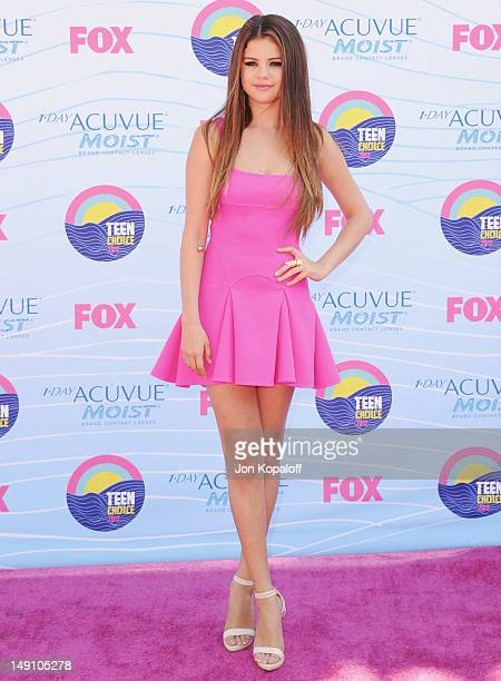 Actress/Singer Selena Gomez arrives at the 2012 Teen Choice Awards at Gibson Amphitheatre on July 22 2012 in Universal City California