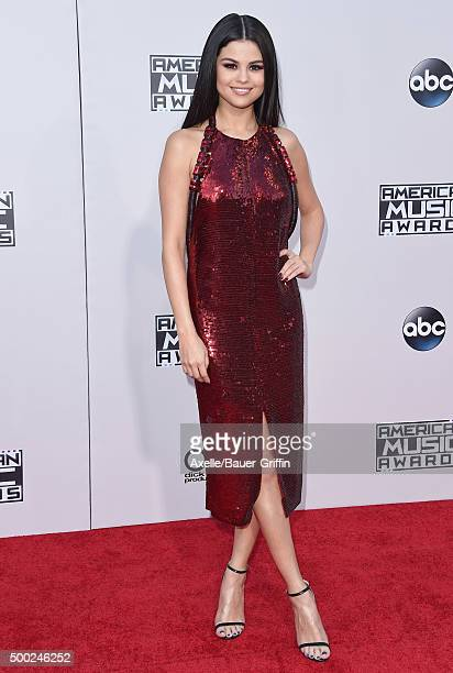 Actress/singer Selena Gomez arrives at the 2015 American Music Awards at Microsoft Theater on November 22 2015 in Los Angeles California