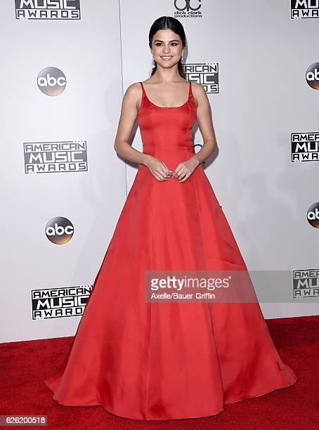 Actress/singer Selena Gomez arrives at the 2016 American Music Awards at Microsoft Theater on November 20 2016 in Los Angeles California