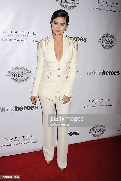 Actress/singer Selena Gomez arrives at the 3rd Annual Unlikely Heroes Awards Dinner and Gala at the Sofitel Hotel on November 8 2014 in Los Angeles...