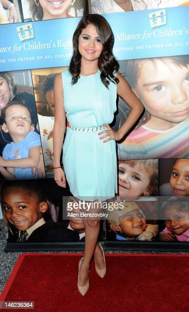 Actress/singer Selena Gomez arrives at the Alliance For Children's Rights 3rd annual celebrity right to laugh event at Avalon on June 12 2012 in...