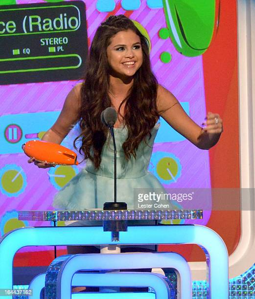 Actress/singer Selena Gomez performs during Nickelodeon's 26th Annual Kids' Choice Awards at USC Galen Center on March 23 2013 in Los Angeles...