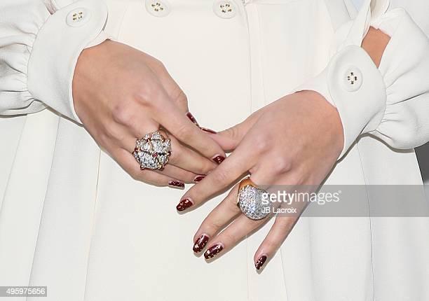 Actress/singer Selena Gomez ring detail attends City Of Hope's 2015 Spirit Of Life Gala at Santa Monica Civic Auditorium on November 5 2015 in Santa...