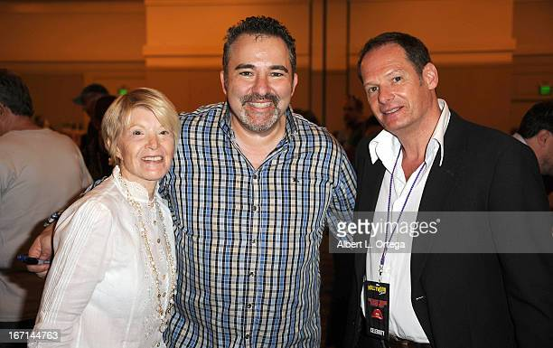 Actress/singer Shani Wallis promoter David Elkouby and actor Mark Lester of Oliver attend The Hollywood Show held at Westin LAX Hotel on April 20...