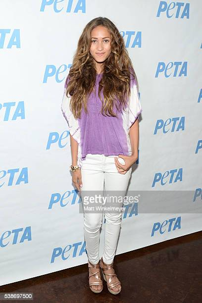 Actress/singer Skylar Stecker attends the LA launch party for Prince's PETA Song at PETA on June 7 2016 in Los Angeles California
