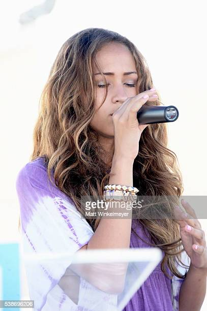 Actress/singer Skylar Stecker performs during the LA launch party for Prince's PETA Song at PETA on June 7 2016 in Los Angeles California