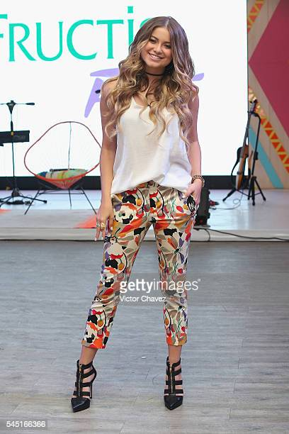 Actress/Singer Sofia Reyes attends the Garnier Fructis No Cortes campaing launch at Jardin Versal on July 5 2016 in Mexico City Mexico