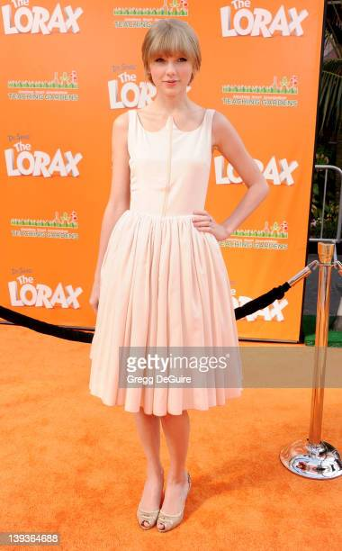 Actress/singer Taylor Swift arrives at Dr Seuss' The Lorax Los Angeles Premiere at Universal Studios Hollywood on February 19 2012 in Universal City...