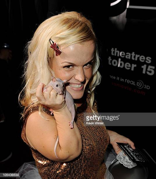 Actress/singer Terra Jole poses with a hairless pet rat at the premiere of Paramount Pictures and MTV Films' 'Jackass 3D' at the Chinese Theater on...